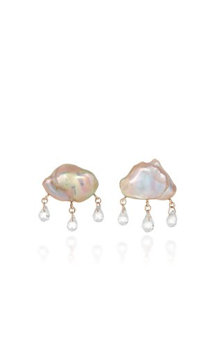 Rainy Day 14K Yellow Gold Pearl, Topaz Earrings