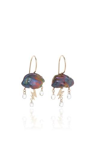 Petite Storm Cloud 14K Yellow Gold Pearl, Topaz Earrings
