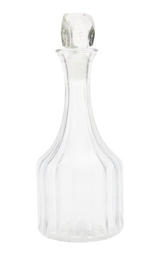 English Cut Glass Decanter with Rock Cut Stopper