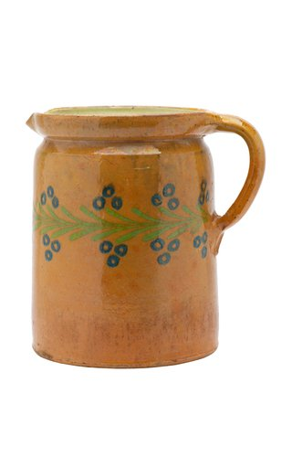 French Glazed Pitcher With Blue Floral Motif
