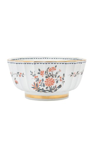 French Hand Painted Porcelain Bowl With Gilt Accents