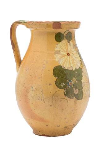 French Redware Pitcher With Floral Motif