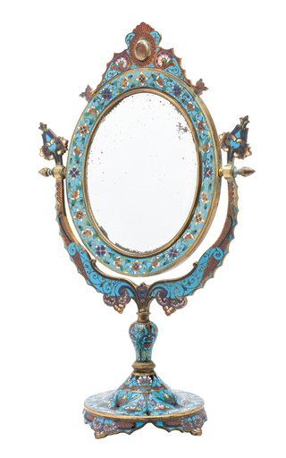French Champleve Table Mirror