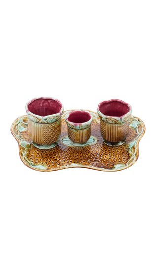 French Majolica Tray With Three Miniature Cachepots