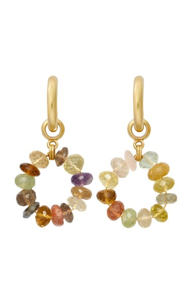 Dazzle 24k Gold-Plated and Gemstone Hoops