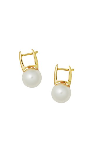 Bubble 24k Gold-Plated and Glass Pearl Huggies