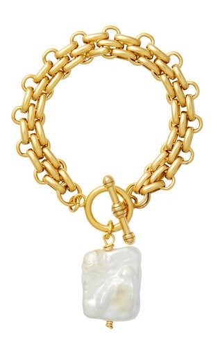 Penny 24k Gold-Plated and Baroque Pearl Bracelet
