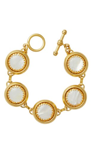 Bubble 24k Gold-Plated and Mother of Pearl Bracelet