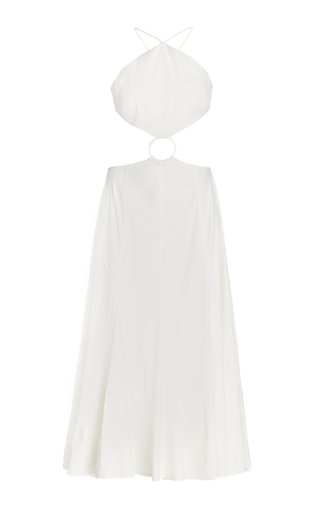 Nadeesha Cutout Linen-Blend Midi Dress