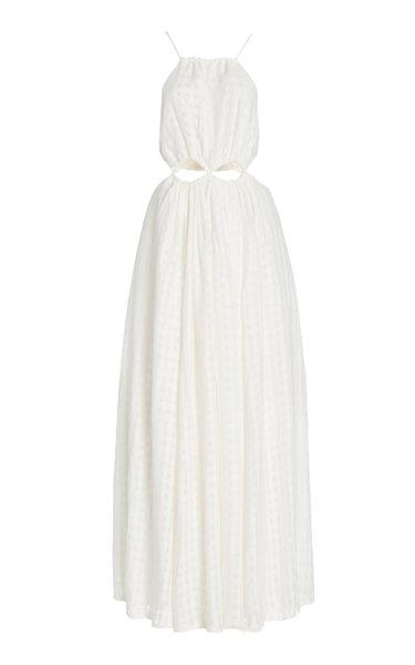 Thera Cutout Gingham Silk Maxi Dress