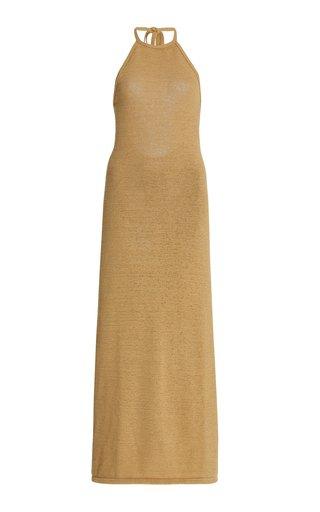 Karina Knit Cotton-Blend Maxi Halter Dress