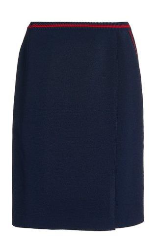 Flared Stripe-Detail Knit Skirt