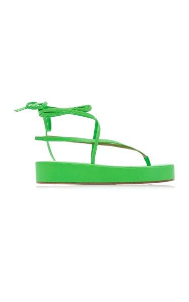 Jamie Lace-Up Leather Flatform Sandals