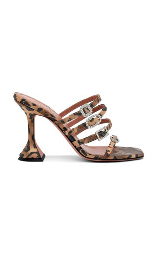 Robyn Buckle-Embellished Leopard-Print Satin Sandals