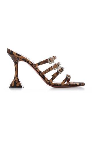 Robyn Buckle-Embellished Leopard-Print Satin Sandals