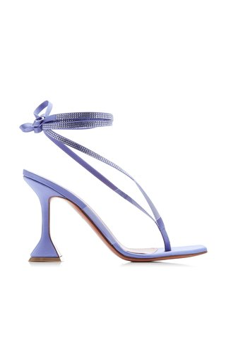Zula Lace-Up Crystal-Embellished Satin Sandals