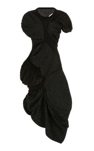 Asymmetric Draped Jacquard Dress