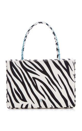 Amini Gilda Crystal-Trimmed Zebra-Print Leather Top Handle Bag