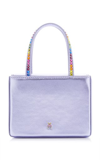 Super Amini Crystal-Trimmed Leather Top Handle Bag