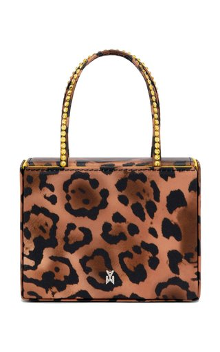Super Amini Crystal-Trimmed Leopard Satin Top Handle Bag