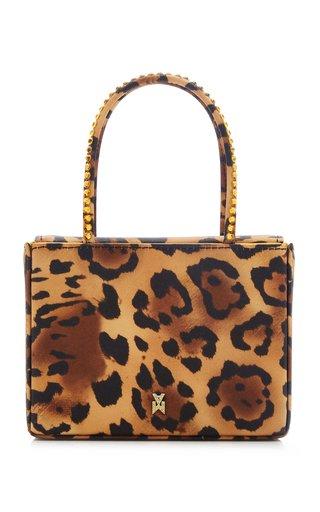 Super Amini Crystal-Trimmed Leopard Satin Top Handle Bag