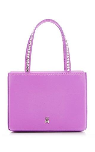 Super Amini Gilda Crystal-Trimmed Leather Top Handle Bag