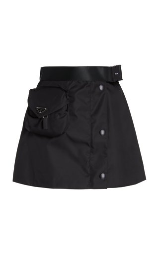 Logo-Detailed Nylon Gaberdine Mini Skirt