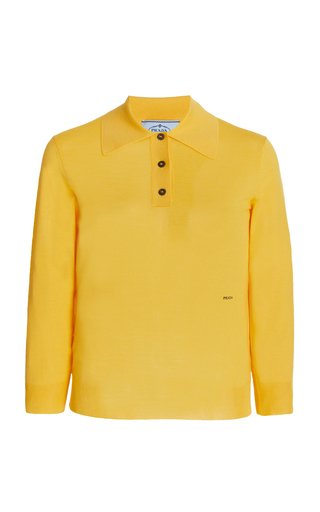 Wool-Blend Polo Knit Top