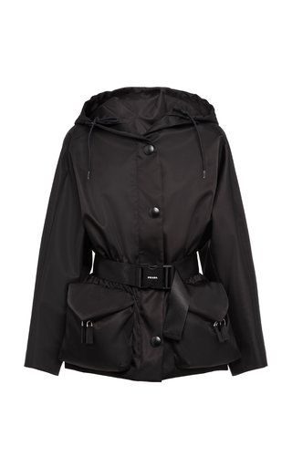 Belted Nylon Gaberdine Hooded Jacket