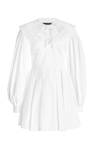 Angelic Lace-Trimmed Cotton-Blend Mini Dress
