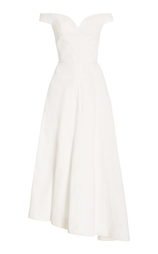 Off-The-Shoulder Cotton-Twill Maxi Dress