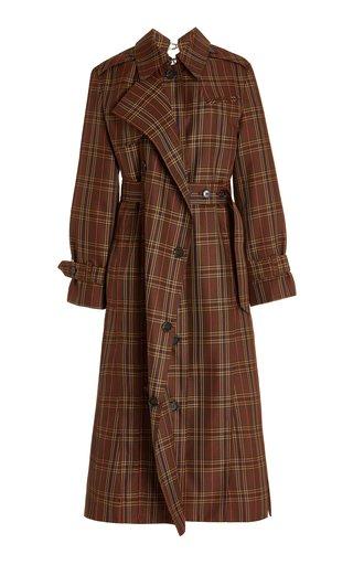 Ring-Detailed Checked Gabardine Trench Coat