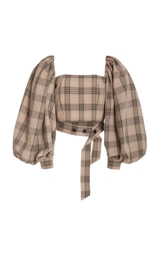 Convertible Off-The-Shoulder Plaid Cropped Top