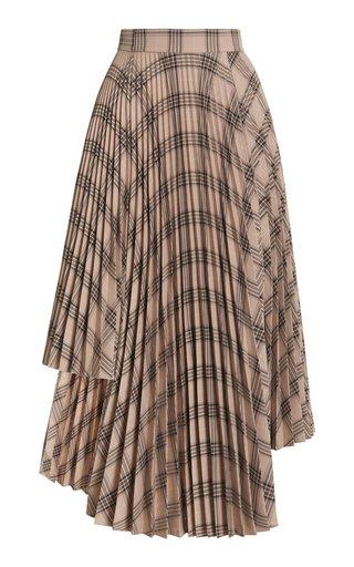 Asymmetric Pleated Plaid Midi Skirt