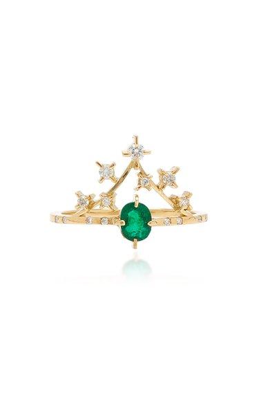 Sparkle 18K Yellow Gold Emerald, Diamond Ring
