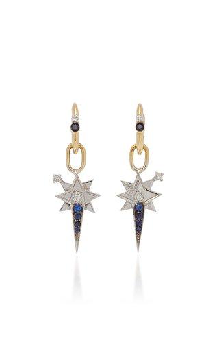 18K Yellow Gold Sapphire, Diamond Earrings
