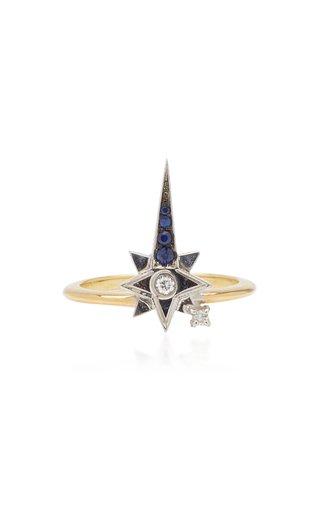 18K Yellow Gold Sapphire, Diamond Ring