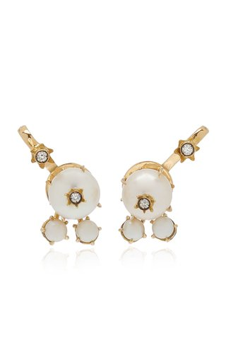 18K Gold, Pearl and Diamond Trio Earrings