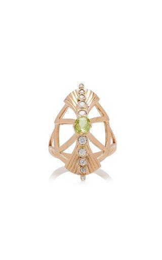 18K Yellow Gold Beryl, Diamond Ring