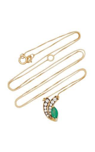 18K Yellow Gold Emerald, Diamond Necklace