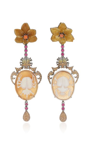 Scarab Cameo 18K White Gold Multi-Stone Earrings