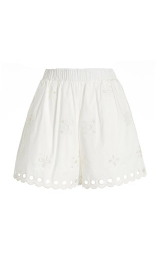 Embroided Cotton-Blend Shorts