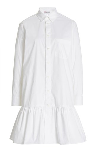 Button Up Cotton-Blend Mini Shirt Dress
