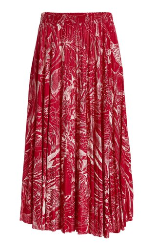 Pleated Printed Jersey Midi Skirt