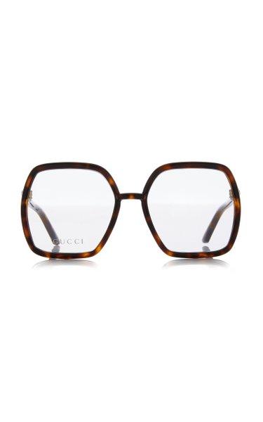 Oversized Square-Frame Tortoiseshell Injection Glasses