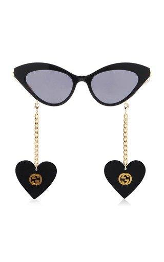 Chain-Detailed Cat-Eye Acetate Sunglasses