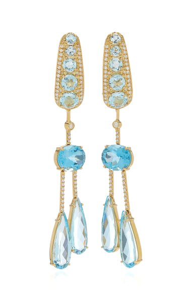 Amazonia 18K Yellow Gold Topaz, Diamond Earrings