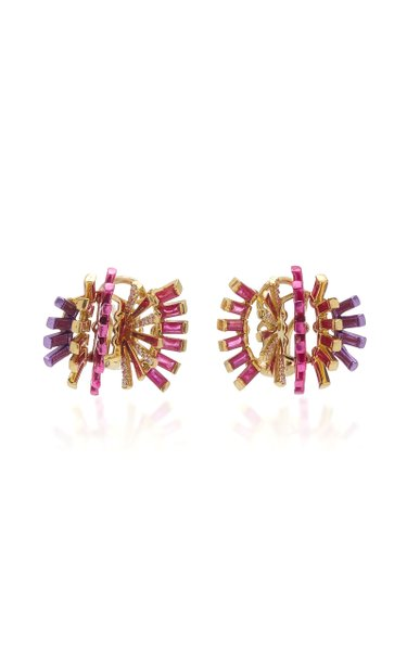 Hedgehog 18K Yellow Gold Ruby, Diamond Clip Earrings