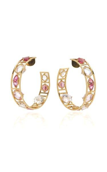 Venezia 18K Yellow Gold Tourmaline, Morganite Hoop Earrings