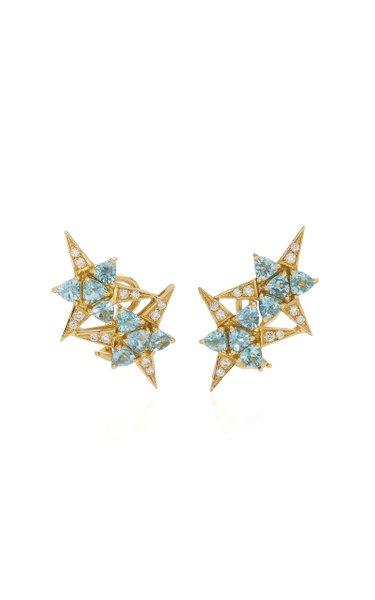 Galactic Star 18K Yellow Gold Aquamarine, Diamond Earrings